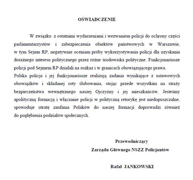 Oświadczenie Przewodniczącego Zarządu Głównego NSZZ Policjantów NSZZ Policjantów