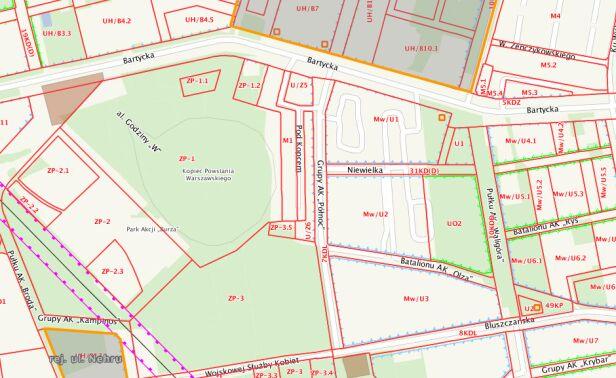 Oznaczenia na planie Urząd Miasta