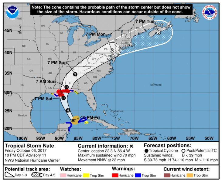 Prognozowana ścieżka huraganu Nate (NHC/NOAA)