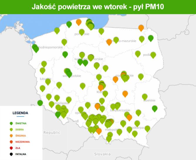 Mapa smogowa w Polsce