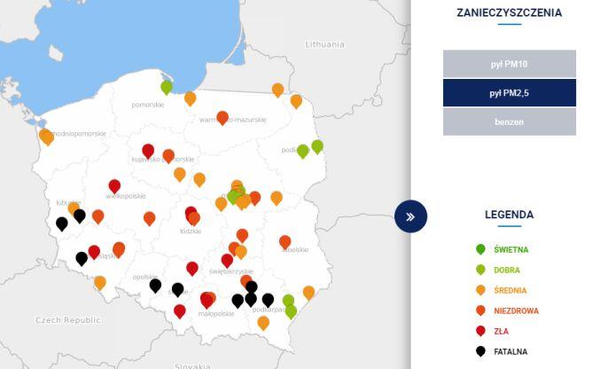 Stężenie pyłu PM2,5 o godzinie 10.00 (tvnmeteo.pl za GIOŚ)