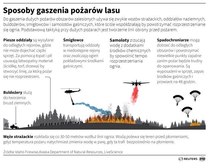Sposoby gaszenia pożarów lasu (Maciej Zieliński/PAP/Reuters)